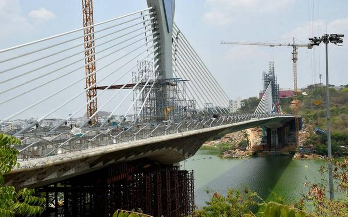 Cable Stay bridge built nuilt by L&T across Durgam Cheruvu lake in hyderabad inauguarated recently by Minister KT Rama Rao