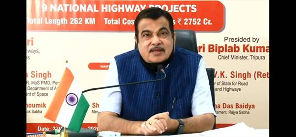 Nitin Gadkari virtually lays foundation stones for nine NH projects in Tripura through video conferencing
